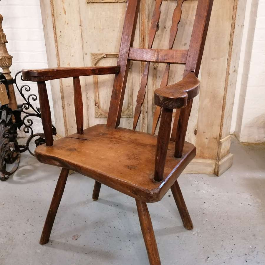18th C Spanish Oak and Elm Chair