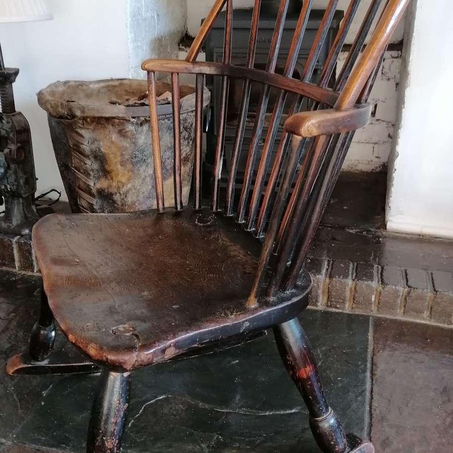 18th C English Oak & Ash Windsor Rocking Chair