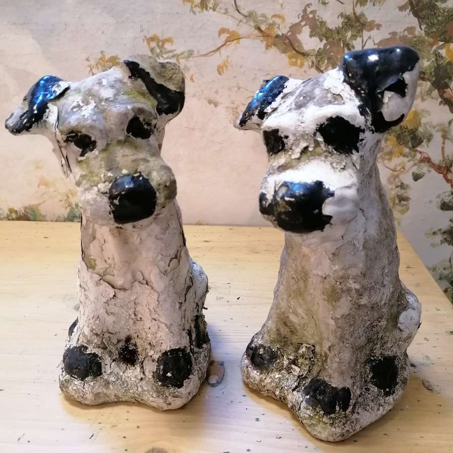 Pair of Mid 20th C Concrete Dogs NOW SOLD
