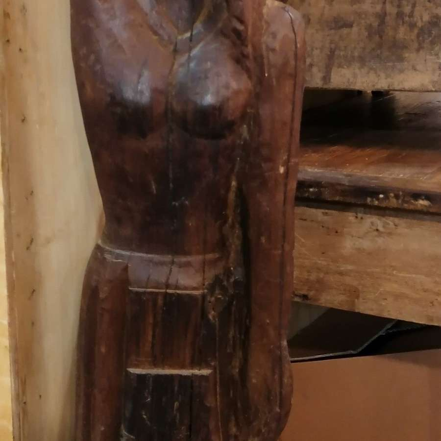 19th C Carved Wood Female Figure