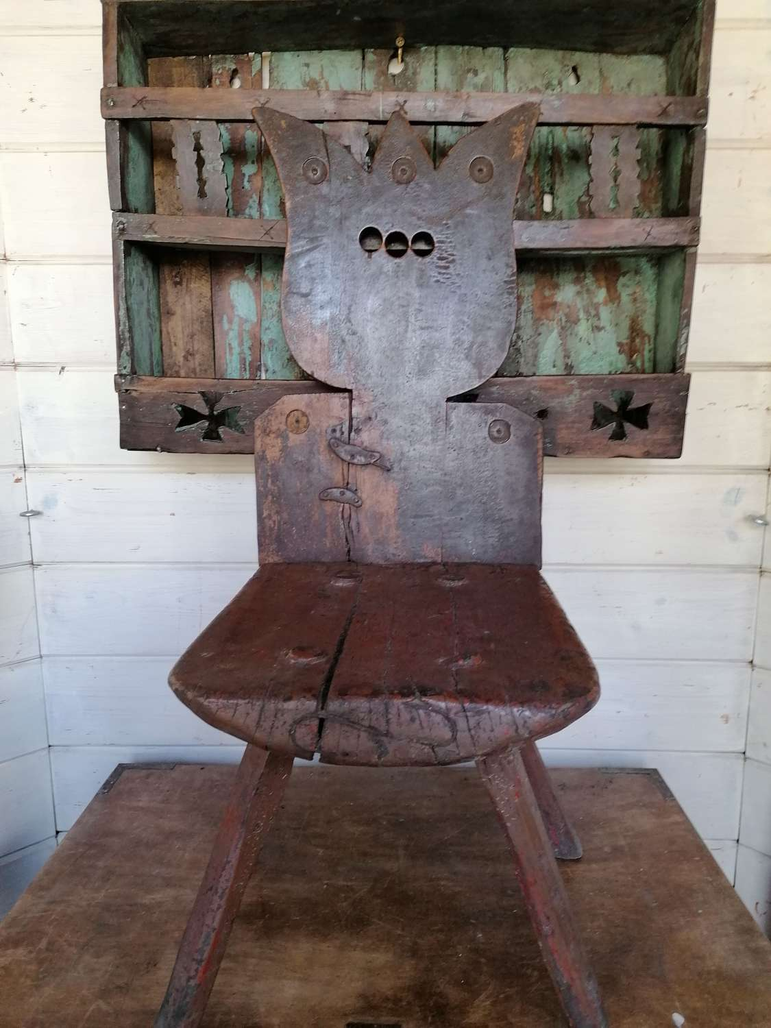 19th C Rustic Work Bench Chair  NOW SOLD