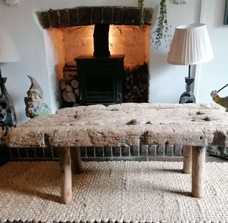 19th C Spanish Folk Art Butchers Work Bench. NOW SOLD