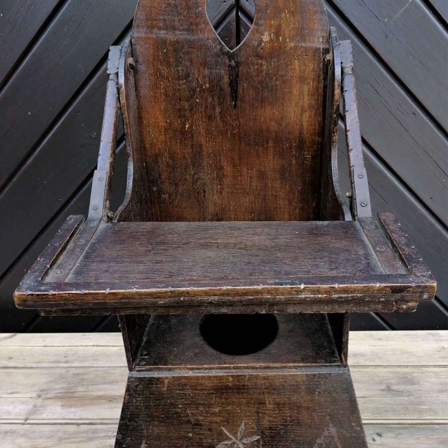 19th C Welsh Child Commode Chair
